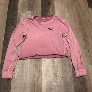 PINK Long sleeve crop t-shirt